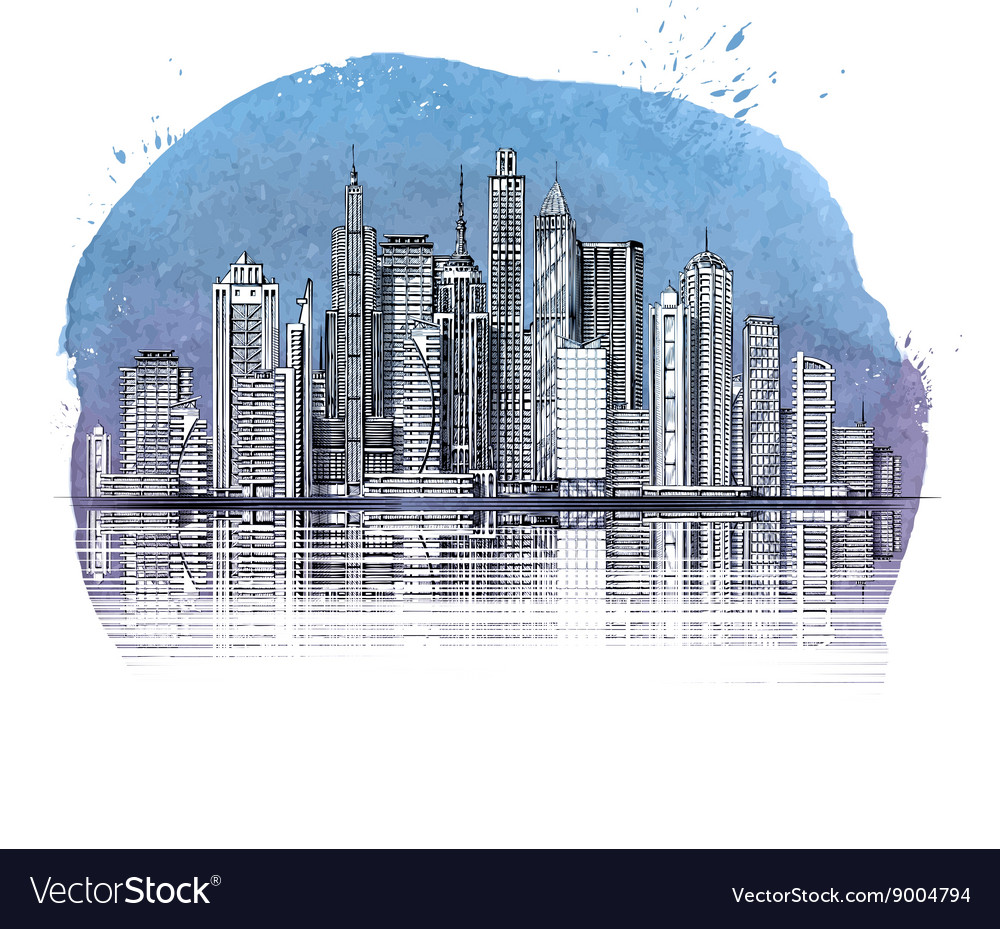 Modern city buildings and skyscraper urban vector