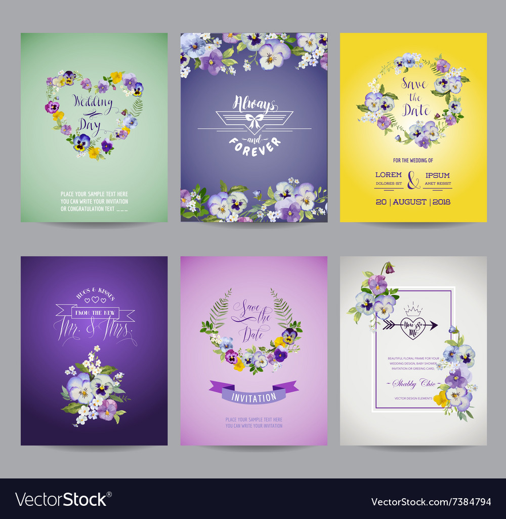 Vintage pansy flowers card set  for wedding vector