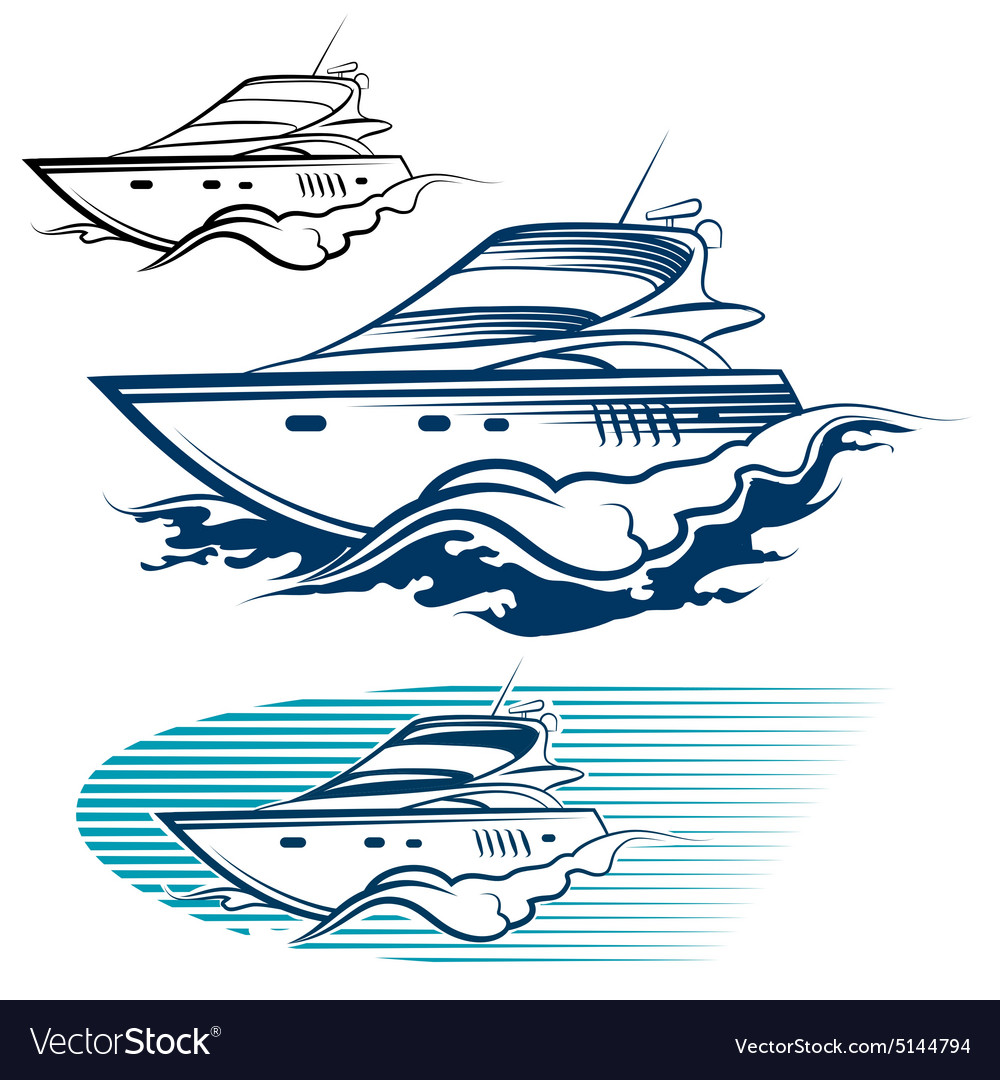 Yacht emblem set vector