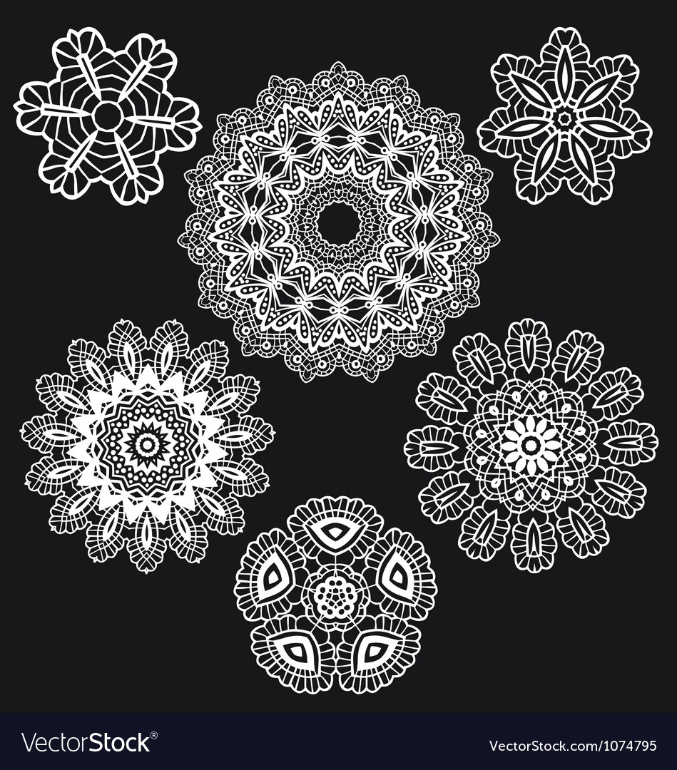 Lace pattern set vector