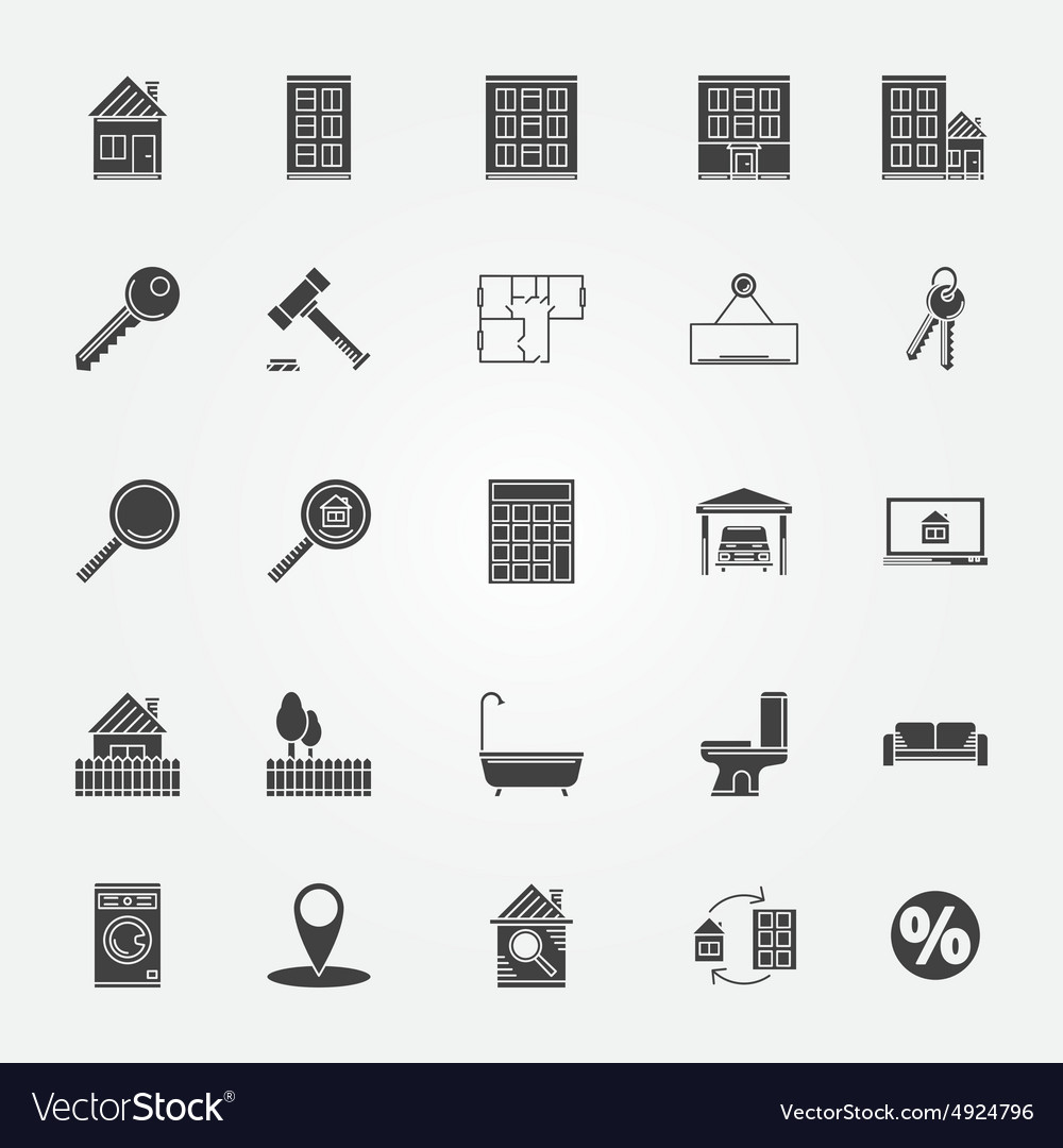 Real estate or interior icons set vector