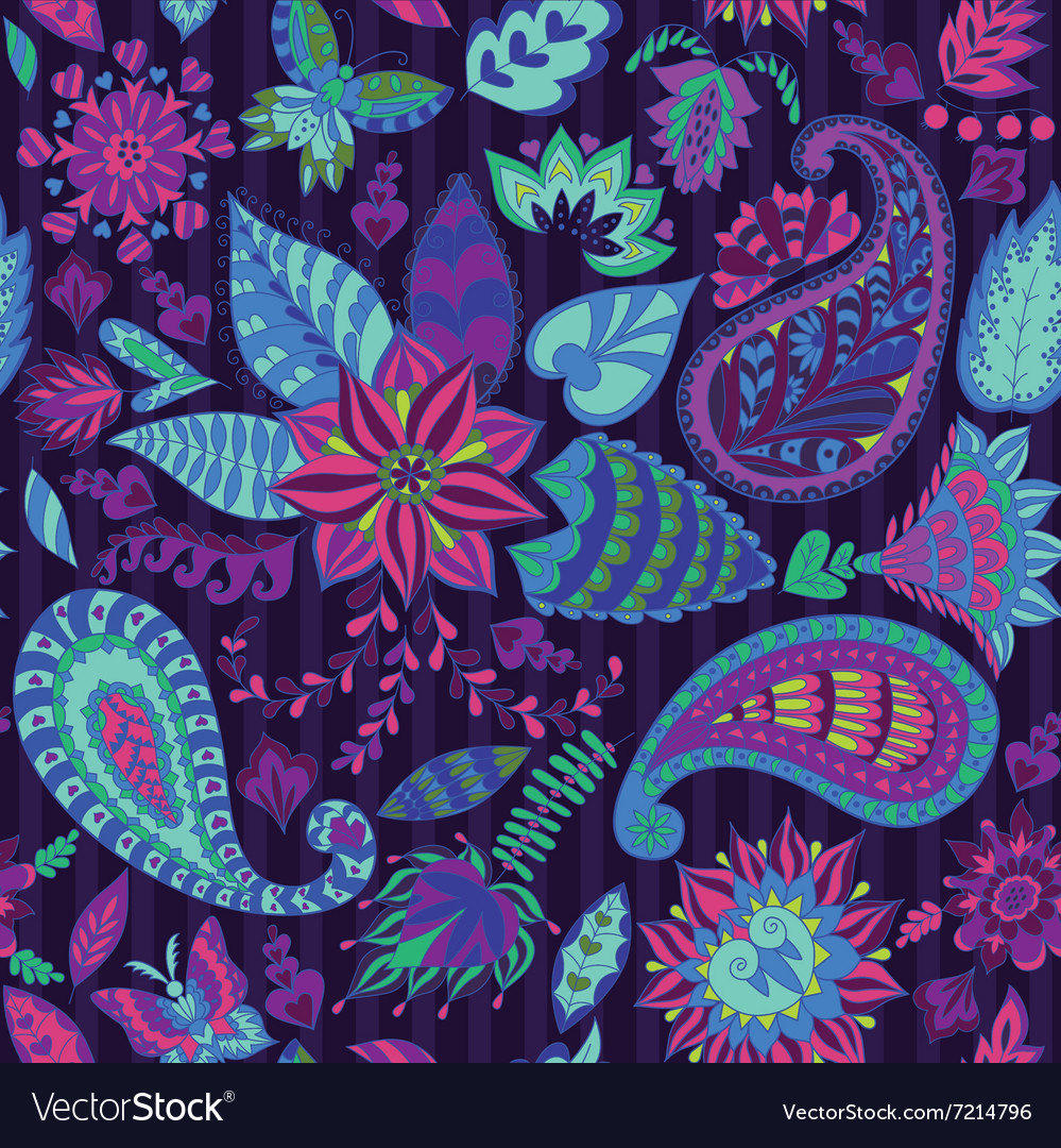 Seamless floral pattern with paisley vector