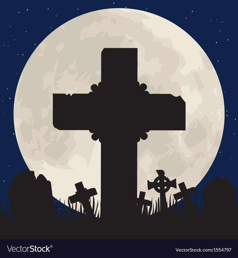 Cenentary cross and moon vector
