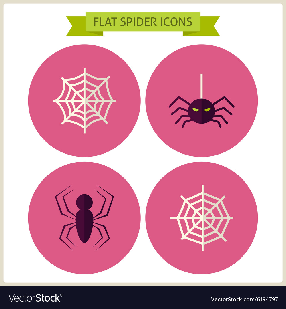 Flat scary spider website icons set vector