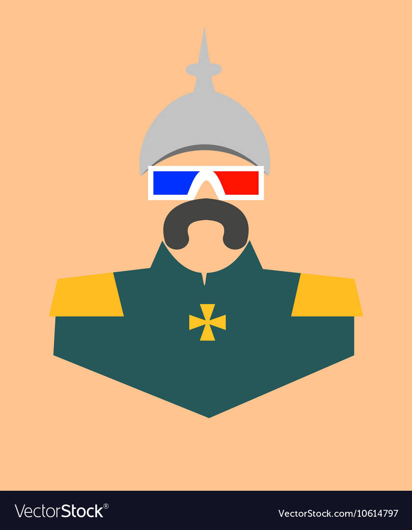 German infantryman in stereo glasses vector