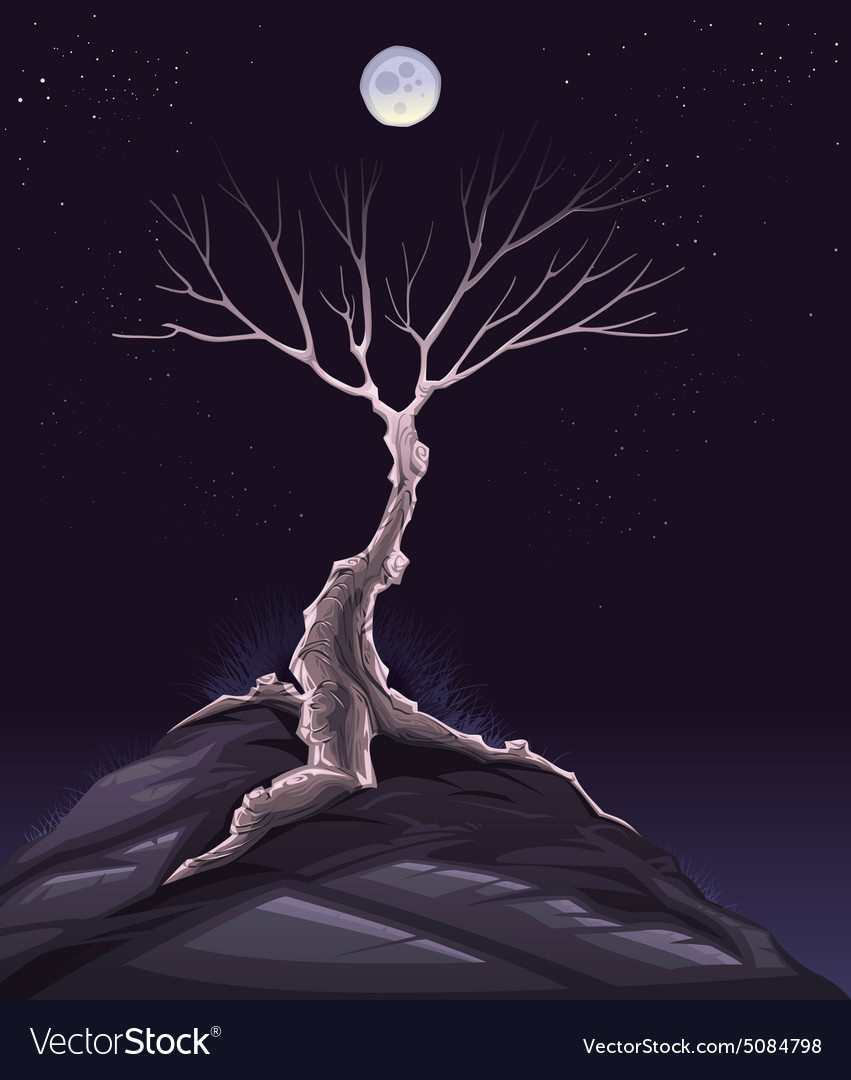 Landscape with tree in the night vector