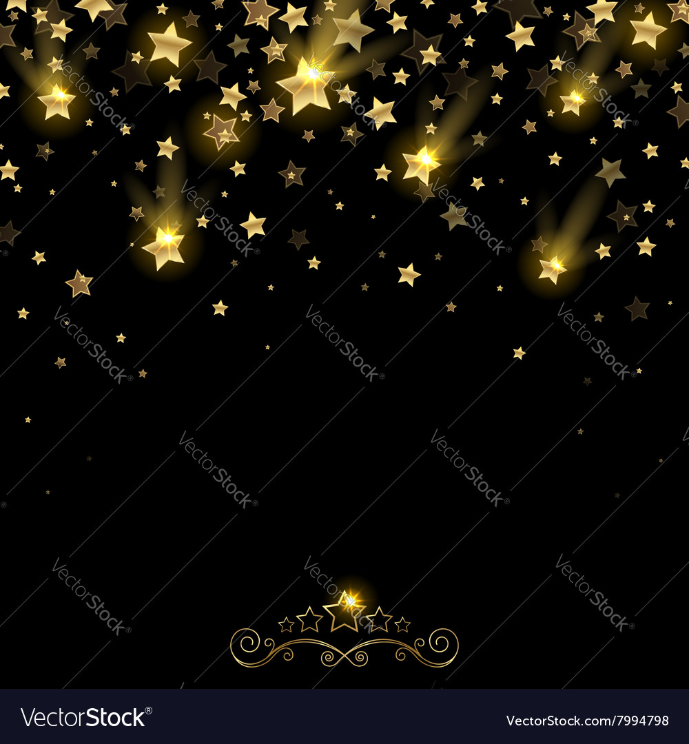 Salute of golden falling stars vector