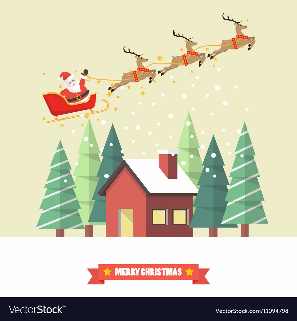 Santa claus and his reindeer sleigh with winter vector