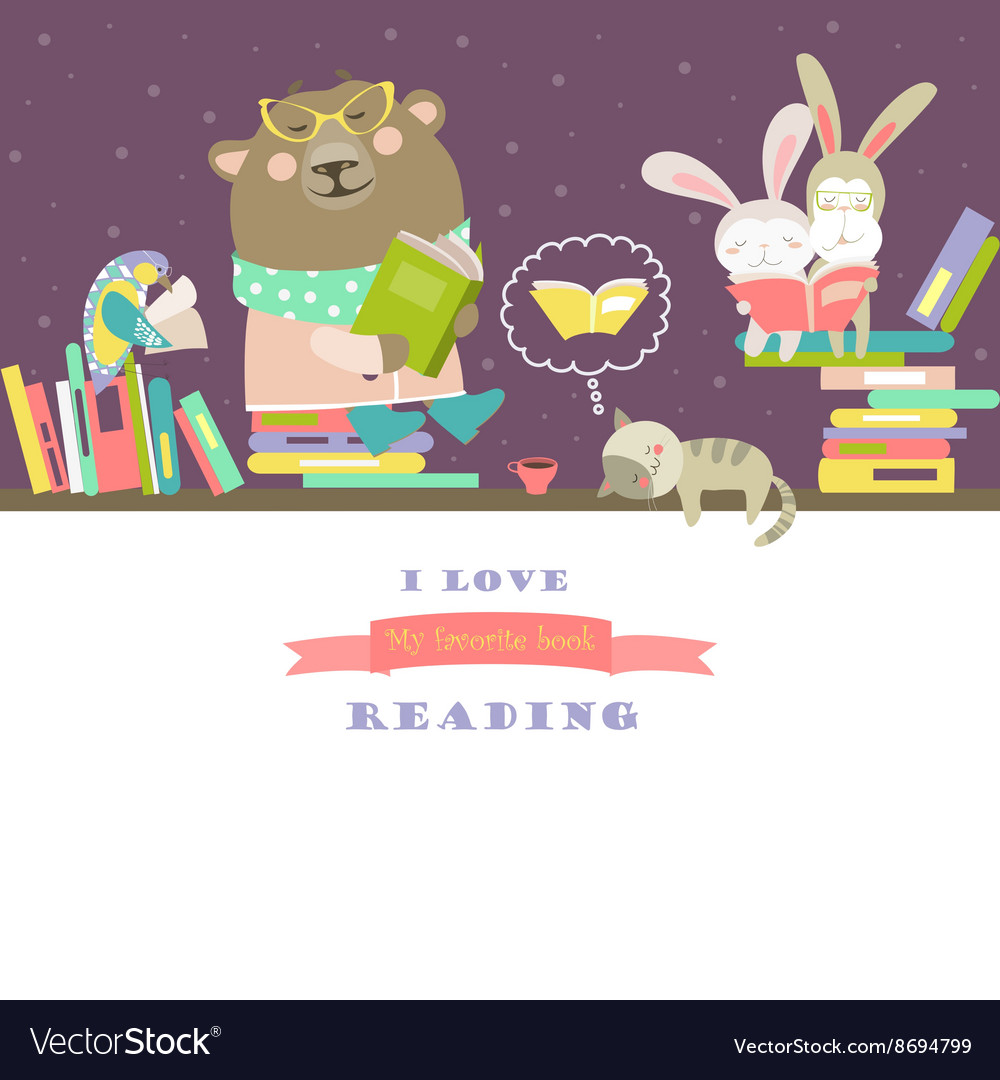 Animals reading books on bookshelves vector