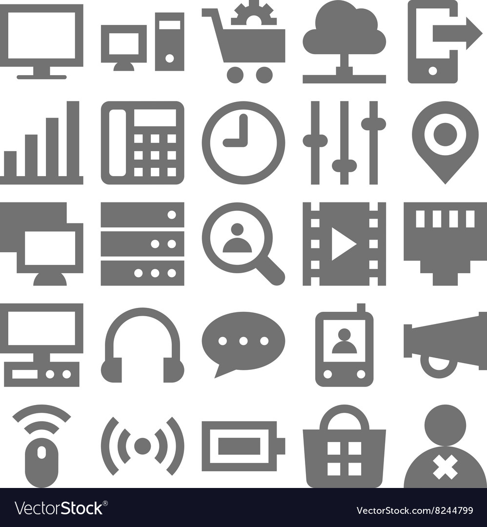 Network technology icons 3 vector