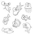 Cartoon sea animals vector image vector image