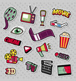 cinema film television patches badges stickers vector image