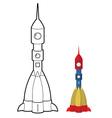Rocket coloring book Space transport astronauts vector image