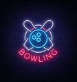 bowling is a neon sign symbol emblem neon style vector image