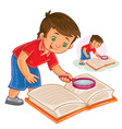 little boy reading a book with a magnifying vector image