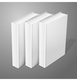 Realistic three standing white blank hardcover vector image