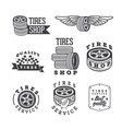 Set of tires shops and service emblems vector image