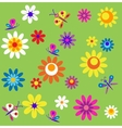 template with flowers and butterflies of spring vector image
