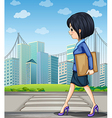 A woman walking at the street near the pedestrian vector image