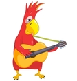 Funny Parrot Guitarist vector image vector image