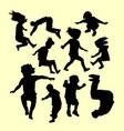 Happy playing and sport training silhouette vector image
