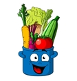 Healthy fresh vegetables in blue pot vector image