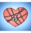 Locked heart with chains emblem vector image