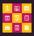 office icons set documents folders vector image