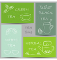 tea kinds banners chalky doodles vector image