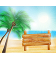 summer sea beach and wooden sign vector image