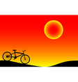 Bike and sunset vector image vector image