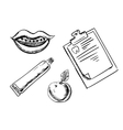 Dental and hygiene sketch icons vector image vector image