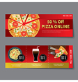 pizza coupon discount template flat design vector image
