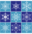 christmas snowflake icon set vector image