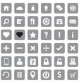 gray web icon set flat style on round rectangle vector image