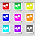 Tennis rocket icon sign Set of multicolored modern vector image