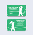 business card design for golf club vector image