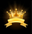 gold crown ribbon winner shiny sign black vector image