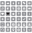 gray web icon set flat style on round rectangle vector image