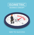 Isometric businessman standing on success compass vector image