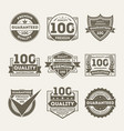 premium quality guaranteed label set vector image