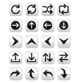 Arrow button sets isolated on white vector image