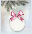 Holiday background with a label and a bow vector image vector image