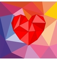 Valentines card with red triangle heart vector image