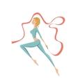 Beautiful gymnastic girl performing with ribbon vector image