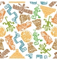 Ancient mexican seamless pattern with mayan totems vector image