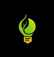 green light bulb eco energy logo vector image