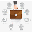 Businessman hand holding briefcase bag vector image