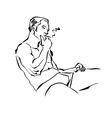 Black and white hand drawn of a relaxed smoking vector image