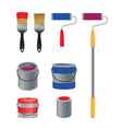 Brush and roller for paint banks with paint vector image
